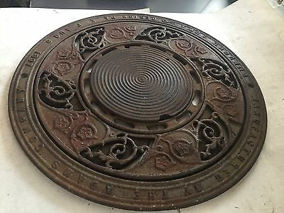 "15 3/4"" Round Arts Craft Victorian Cast Iron Floor Heating Grate Vent Register"