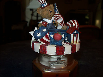 Home Interiors  - Bear with Apples Jar Candle Topper 4th July - Fits small Jar