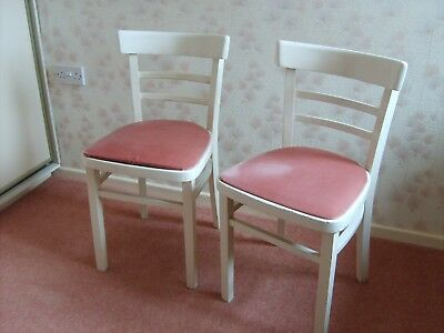 Pair of wooden chairs, painted white with fabric covered seats 1950s style