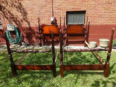 A Pair Of Vintage Federal Style Mahogany Four Poster Twin Beds, Original Finish