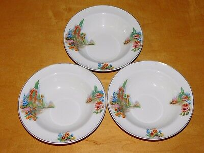3 Vintage Small Rimmed Bowls 6 1/4in