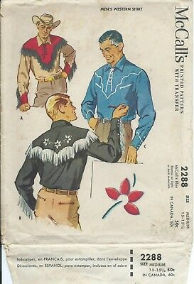 """M 2288 sewing pattern 50's Country Western SHIRT chest 38""""-40"""" sew rockin Cowboy"""