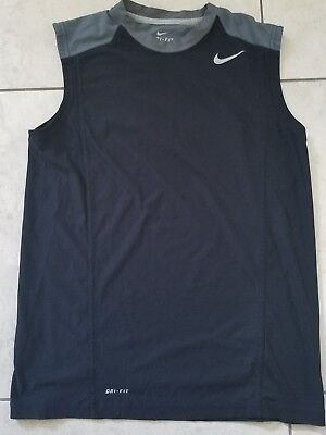 Men's Nike Dri-Fit Sleeveless Athletic Shirt Sz L Gray n black