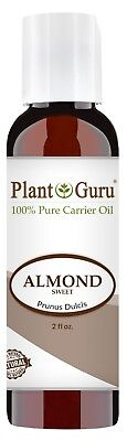 Sweet Almond Oil 2 oz. 100% Pure Organic Carrier For Skin, Hair Growth, Face