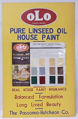 Vintage OLO Advertising House Paint Sign Self Standing Display New Old Stock