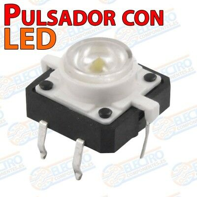 Pulsador NO 12x12x7mm con LED BLANCO - Arduino Electronica DIY