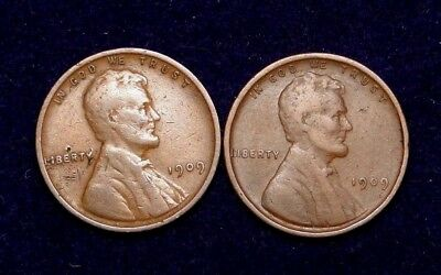1909 & 1909-Vdb Lincoln Wheat Cent Rare Old U.s. Type Coins