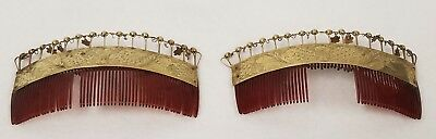 2 Fine Antique Gold Hair Combs Hand Made & Engraved