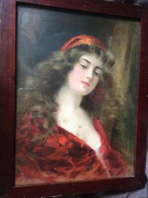 """11"""" Angelo Asti Lithograph Print Lady ANTIQUE Orig FRAME & Nails c 18950s"""