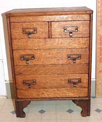 "Rare Salesman Sample 4-DRAWER OAK CABINET, General Store, APOTHECARY, 21"" tall"