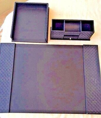 Desk Accessory Set 3-Piece Black Leather Look Woven Weave LC CL Organizer  DF
