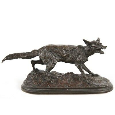 Very Fine Authentic Pierre Mene French Antique Bronze Sculpture of Fox, 19th C