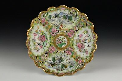 Chinese Export Scenic Panels Famille Rose Porcelain Dish w/ Scalloped Rim