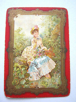 Antique Playing Cards 1 Single Swap Card English Wide Framed Victorian Lady