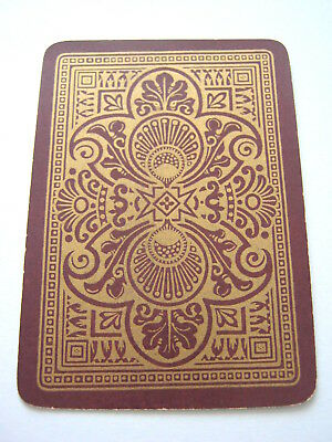 Antique Playing Cards 1 Single Swap Card English Wide Gilded Design On Brown