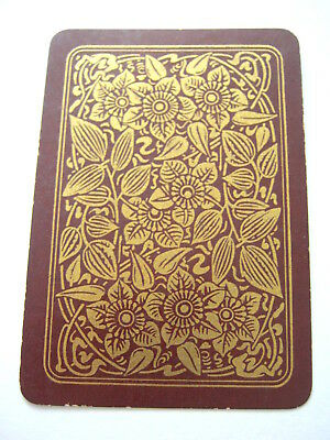 Antique Playing Cards 1 Single Swap Card English Wide Gilded Flowers On Brown