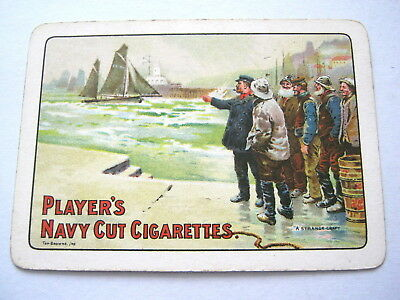 Antique Playing Cards 1 Single Swap Card Wide Titled Players Navy Cut Cigarettes