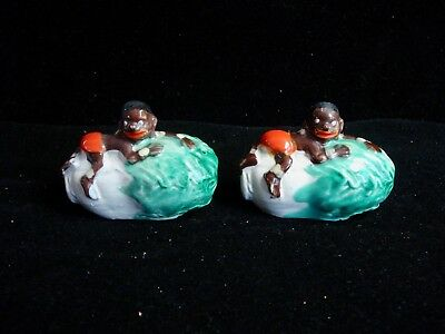 VTG Black Americana ~ Boy Child Lying Top Lettuce ~ SALT & PEPPER Shaker Set