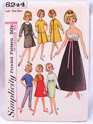 "Original Vintage 12"" Tammy Fashion Doll Clothing Sewing Pattern Simplicity 6244"