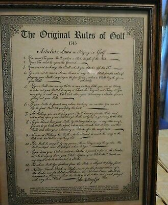 "1745 ""The Original Rules of Golf"" framed print."