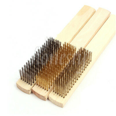 2/3pcs Stainless Steel Copper Brass Briste Wood Handle Wire Scratch Brush 210mm