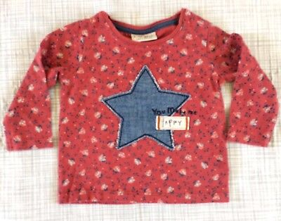 "NEXT ditsy STAR ""YOU MAKE ME HAPPY"" TOP 3-6 baby girl clothes AUTUMN WINTER"