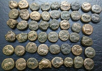 "Mysore - Wodeyar ""elephant Facing"" 1/4 Kasu,kasu & V Cash Lot Of 50 Coins"