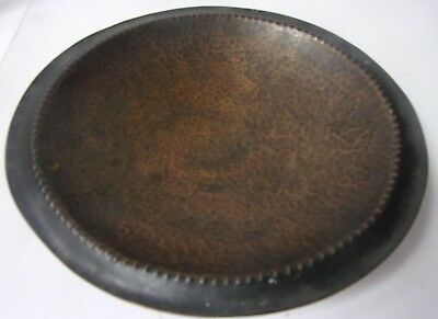 Art Deco 1930-40s Hand Hammered Bronze Bowl Beaded Edge Teppich Israel Signed
