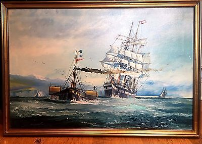FINE LARGE MASTER PAINTING Early- Mid 20th Century Marine SHIP SCENE GOLD Frame