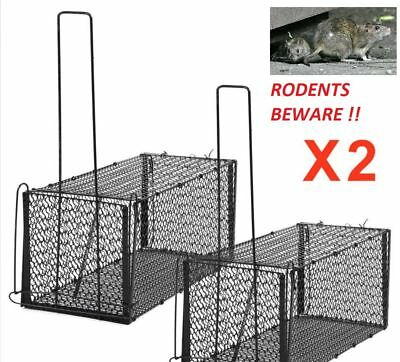 2 X XL RAT Squirrel  Spring Cage Trap Humane Live Animal Rodent Indoor Outdoor