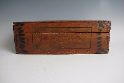 A Chinese Antique Wood Treasure Chest Box w/ Flower Pattern 12.5 '' old wood