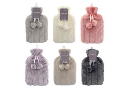 Large Hot Water Bottle & Soft Cosy Faux Fur Cover Hottie Warmer Xmas Gift