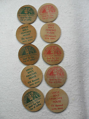 12 Boise Idaho Uncle Ben's Pancake House Wooden Nickel Token Indian Chief