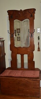 Antique Oak Hall Tree Unique Beveled Mirror: Chest/ Seat on Bottom