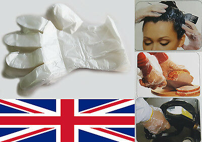 100 x Plastic Disposable Gloves Premium Polythene Catering Hairdressers Butchers