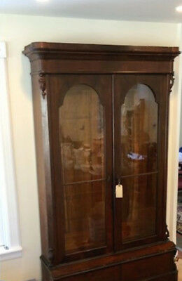 Monumental Victorian Empire Bookcase Cabinet. Double glass doors.