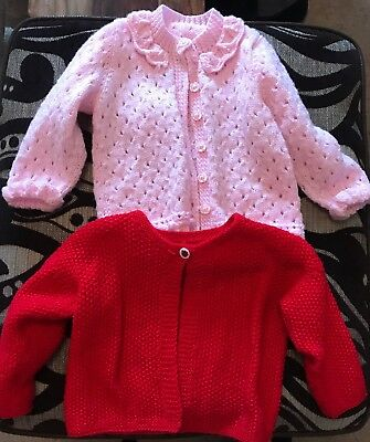 Baby Girls Bundle Cardigans 18-24 Months Hand Knitted Wool