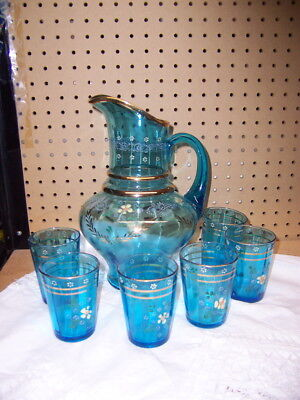 vntg antique hand painted enameled glass lemonade set blue pitcher 6 glasses