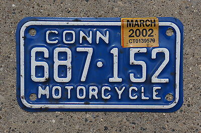 2000 2001 2002 Connecticut MOTORCYCLE License Plate