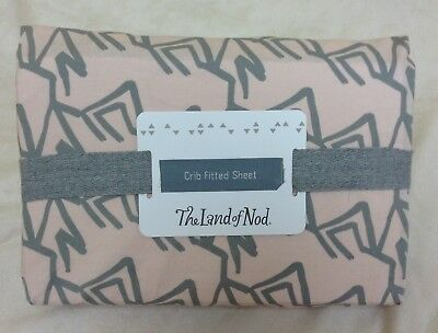 NEW The Land of Nod Fitted Crib Sheet Pink Gray Pennywood Cotton