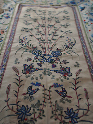 Fine Antique Chinese Hand Peking Stitch Animals Deer Cricket Bird Silk Fabric 28