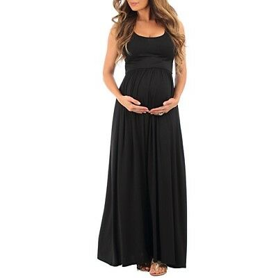 Mother Bee Women's Ruched Sleeveless Maternity Dress Pregnancy Black X-Large XL