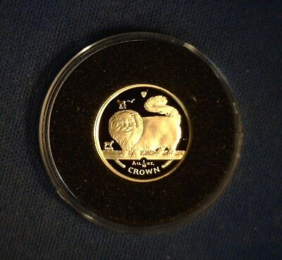 1997 Isle of Man Long Haired Smoke Cat 1/10 oz Gold Proof
