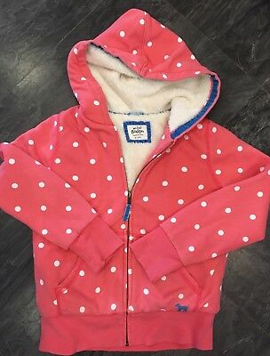 Mini Boden Girls Age 9-10 Years Pink White Spit Shaggy Lined Zip Through Hoody