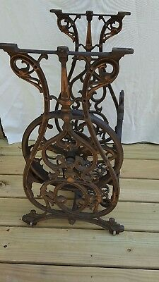Antique  Willcox & Gibbs Cast Iron Treadle Base Super Clean Bronze Accents