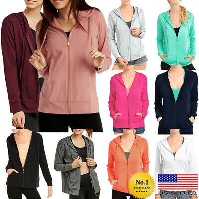 Womens Classic Active Thin Cotton Hoodie Jacket Sweatshirt Zip-Up Zipper Hooded