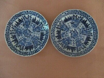 Two Chinese Blue & White Saucer Dishes (Signed)
