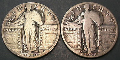 Two Standing Liberty Quarter Dollars:  1928-S and 1928-D.