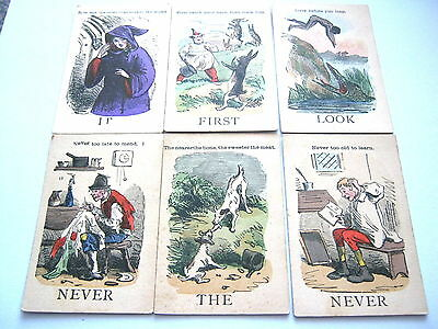 Jaques Proverbs Antique Playing Cards Game 6 Proverbs + Rules Leaflet 38+R 1870