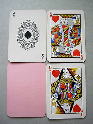 DE LA RUE ANTIQUE PLAYING CARDS 1890s PATIENCE SIZE APPROX 2.75 X 2 INCH PINK